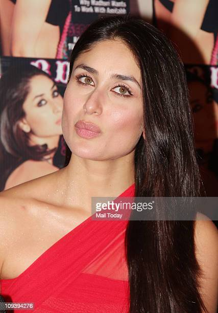 Kareena Kapoor unveiling the latest issue of Stardust Magazine which has crowned her as Bollywood's sexiest woman in their latest issue