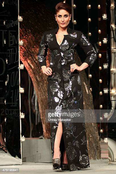 Kareena Kapoor walks the runway wearing designs by Rajesh Pratap Singh at the Grand Finale of Lakme Fashion Week Summer/Resort 2014 at the Grand...