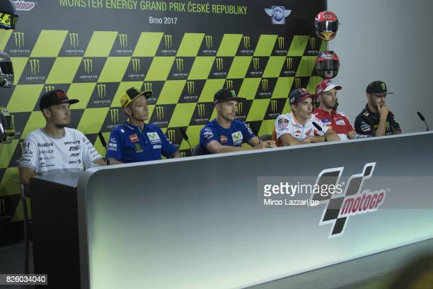 Karel Abraham of Czech Rep and PullBear Aspar Team Valentino Rossi of Italy and Movistar Yamaha MotoGP Maverick Vinales of Spain and Movistar Yamaha...
