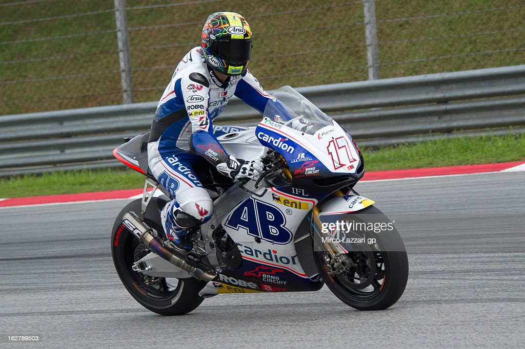 Karel Abraham of Czech Republic and Cardion AB Motoracing heads down a straight during the MotoGP Tests in Sepang - Day Two at Sepang Circuit on February 27, 2013 in Kuala Lumpur, Malaysia.