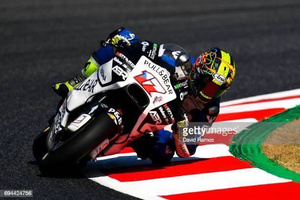 Karel Abraham of Czech Republic and PullBear Aspar Team rides during a free practice ahead of qualifying at Circuit de Catalunya on June 10 2017 in...