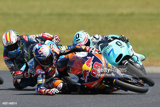 Karel Hanika of the Czech Republic and the Red Bull KTM Ajo team crashes during the Moto3 Race before the 2015 MotoGP of Australia at Phillip Island...