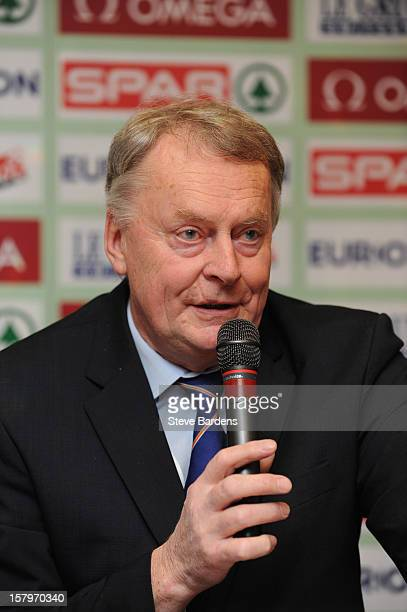 Karel Pilny the Vice President of European Athletics talks to the media during a press conference for the 19th SPAR European Cross Country...