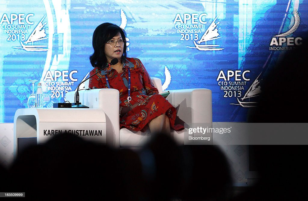 Karen Agustiawan, president director and chief executive officer of PT Pertamina, speaks during a panel discussion at the Asia-Pacific Economic Cooperation (APEC) CEO Summit in Nusa Dua, Bali, Indonesia, on Monday, Oct. 7, 2013. Asia-Pacific governments are calling for vigilance against protectionism as economic growth slows in parts of the region and completion of a 12-nation trade accord looks set to be delayed further. Photographer: SeongJoon Cho/Bloomberg via Getty Images