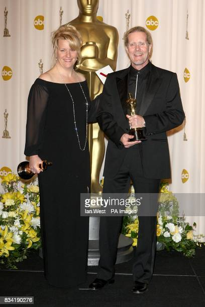 Karen Baker Landers and Per Hallberg with the award for Achievement in Sound Editing received for The Bourne Ultimatum at the 80th Academy Awards at...