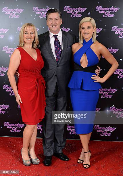 Karen Barber Robin Cousins and Ashley Roberts attend the series launch photocall for 'Dancing on Ice' held at the London Studios on January 2 2014 in...