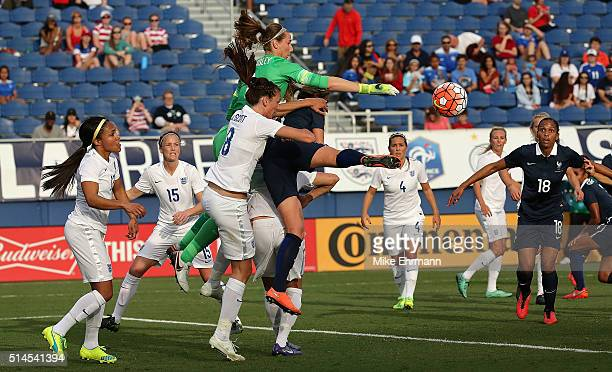 Karen Bardsley of England makes a save during a match against France in the 2016 SheBelieves Cup at FAU Stadium on March 9 2016 in Boca Raton Florida