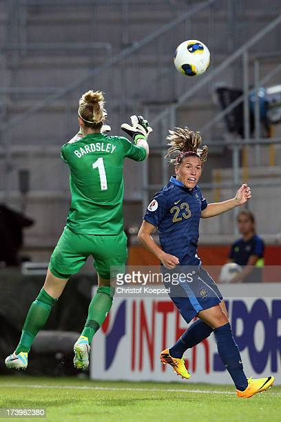 Karen Bardsley of England saves a shot of Camille Abily of France during the UEFA Women's EURO 2013 Group C match between France and England at...