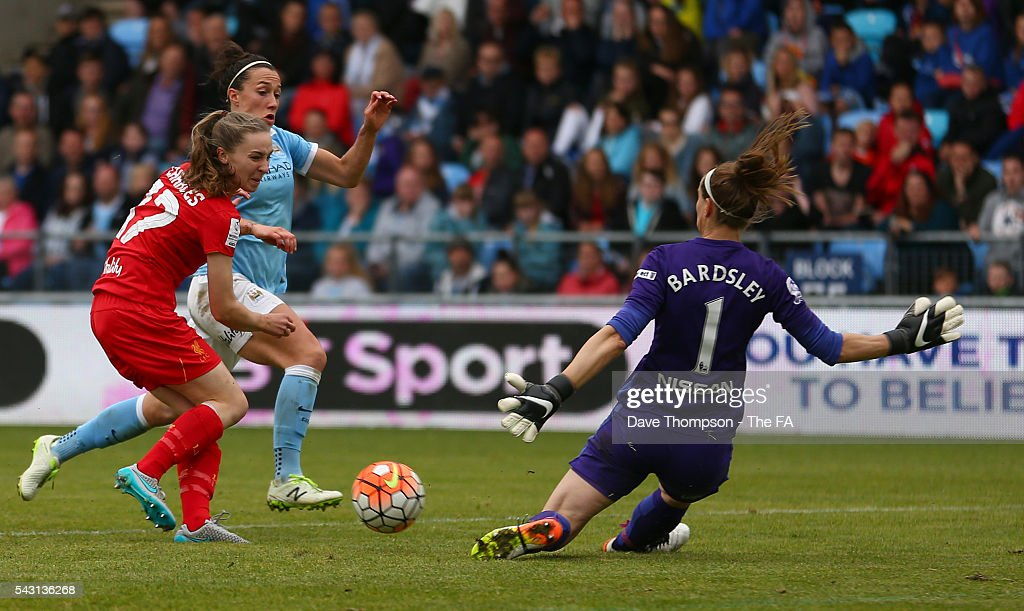 <a gi-track='captionPersonalityLinkClicked' href=/galleries/search?phrase=Karen+Bardsley&family=editorial&specificpeople=5988222 ng-click='$event.stopPropagation()'>Karen Bardsley</a> of Manchester City Women saves a shot from Niamh Charles of Liverpool Ladies during the FA WSL match between Manchester City Women and Liverpool Ladies FC on June 26, 2016 in Manchester, England.