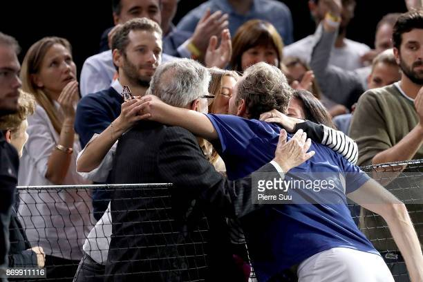 Karen Benneteau is seen kissing her husband Julien Benneteau the Rolex Paris Masters at Hotel Accor Arena Bercy on November 3 2017 in Paris France