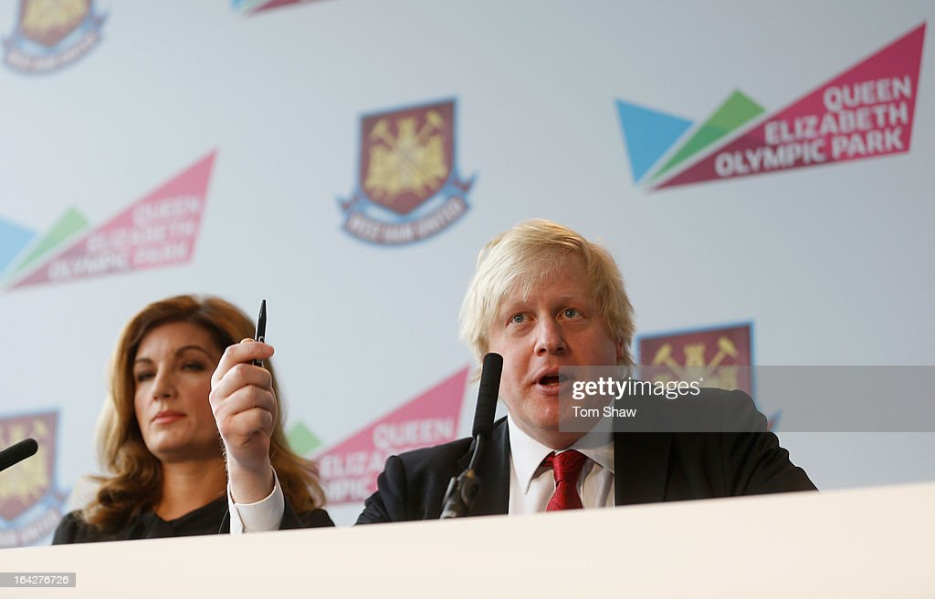 Karen Brady and Mayor of London <a gi-track='captionPersonalityLinkClicked' href=/galleries/search?phrase=Boris+Johnson&family=editorial&specificpeople=209016 ng-click='$event.stopPropagation()'>Boris Johnson</a> talk to the press during the press conference to announce the future of the Olympic Stadium on March 22, 2013 in London, England. West Ham United have been announced as the main tenants of the Olympic Stadium, paying 15 million GBP upfront towards conversion costs and an annual rent of 2 million GBP. West Ham will play their home matches at the Stadium from 2016.