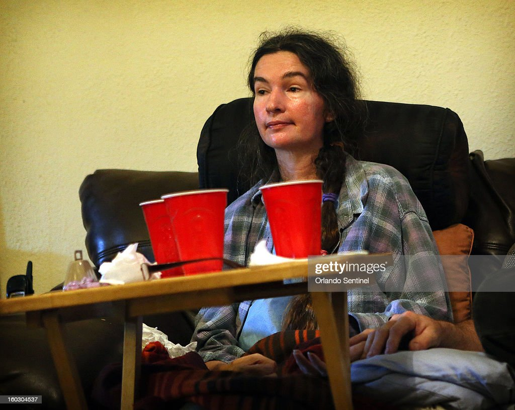 Karen Brooks at her home in Winter Park, Florida, on January 21, 2013. She can't chew, or eat solid food, or get up or walk by herself, and needs someone with her 24 hours a day. 'I can't imagine living 20 more years like this,' she said.