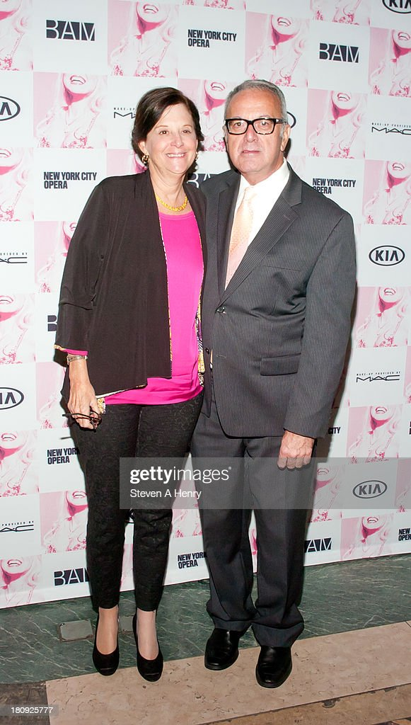 Karen Brooks Hopkins, BAM President and Joseph Melillo, BAM Executive Producer attend 'Anna Nicole The Opera' Opening Night at Skylight One Hanson on September 17, 2013 in New York City.
