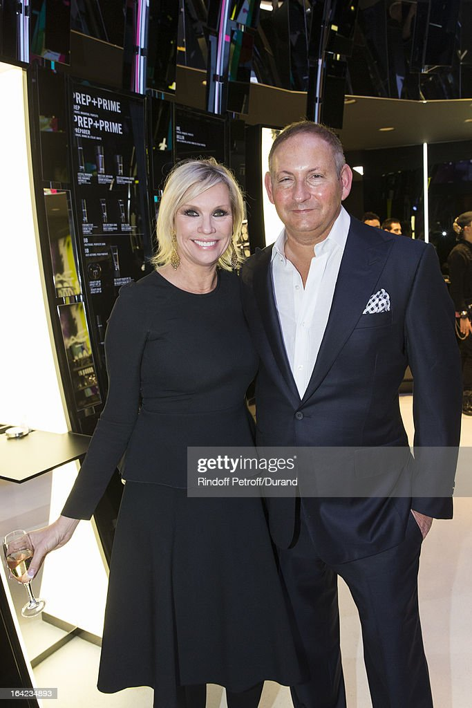 Karen Buglisi, Global Brand President of MAC Cosmetics, and <a gi-track='captionPersonalityLinkClicked' href=/galleries/search?phrase=John+Demsey&family=editorial&specificpeople=215290 ng-click='$event.stopPropagation()'>John Demsey</a>, President of MAC Cosmetics, attend the MAC Cosmetics Champs Elysees Opening Party on March 21, 2013 in Paris, France.