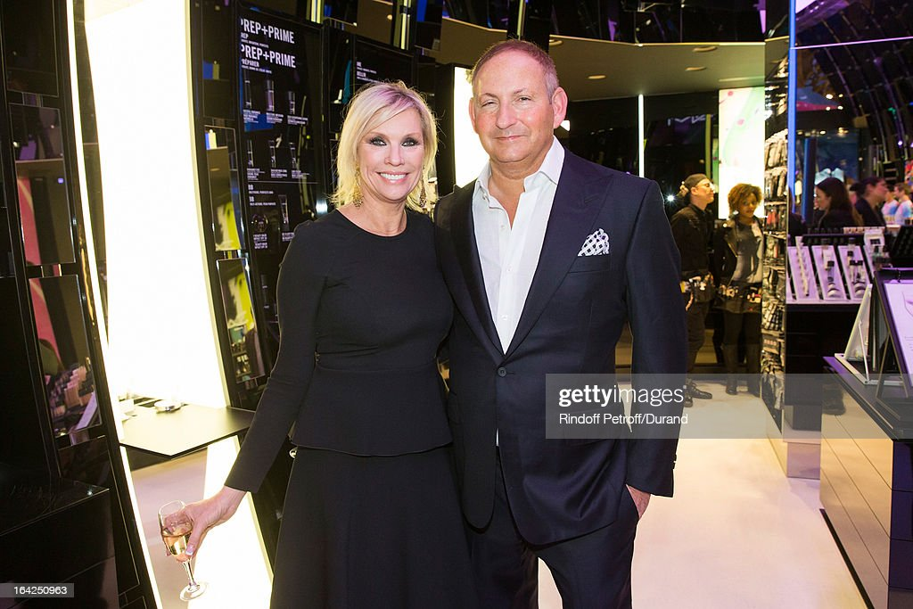 Karen Buglisi, President of MAC Cosmetics, and <a gi-track='captionPersonalityLinkClicked' href=/galleries/search?phrase=John+Demsey&family=editorial&specificpeople=215290 ng-click='$event.stopPropagation()'>John Demsey</a>, Group President at Estee Lauder Companies Inc., attend the MAC Cosmetics Champs Elysees Opening Party on March 21, 2013 in Paris, France.