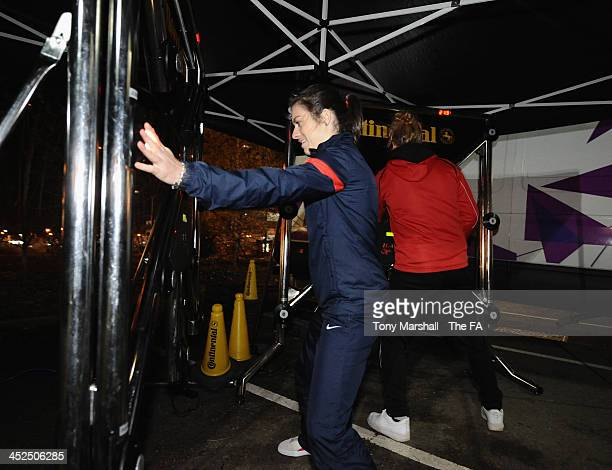 Karen Carney of Birmingham City Ladies and England taking part in the Continental Batak Board at the FA Girls Fanzone before the UEFA Womens U17...