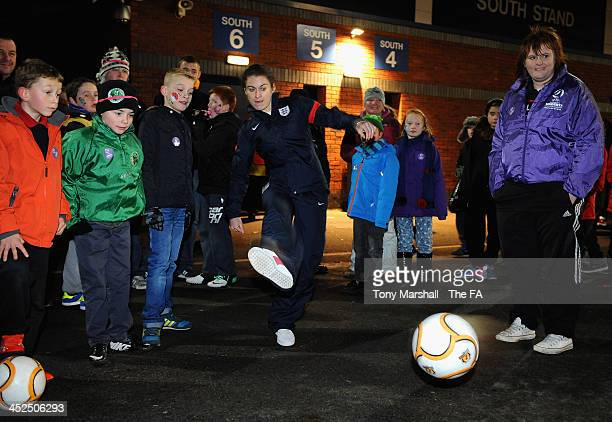 Karen Carney of Birmingham City Ladies and England taking part in the Continental Shoot out at the FA Girls Fanzone before the UEFA Womens U17...