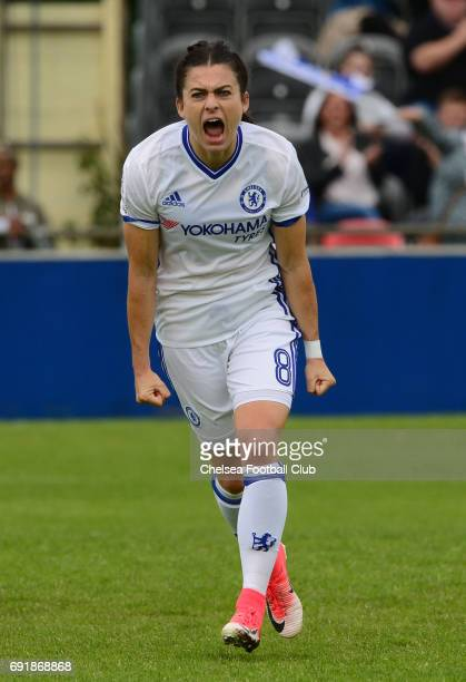 Karen Carney of Chelsea celebrates after she scores from the penalty spot to make it 10 during the WS1 match between Birmingham City Ladies and...