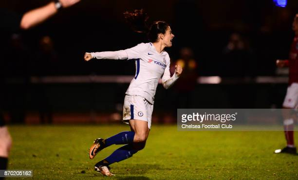 Karen Carney of Chelsea celebrates after she scores from the penalty spot to make it 21 during a Continental Tyres Cup match between Bristol City...