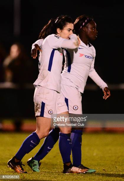 Karen Carney of Chelsea celebrates with her team mate Eniola Aluko after she scores from the penalty spot to make it 21 during a Continental Tyres...