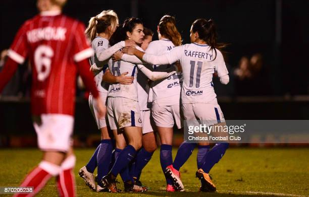 Karen Carney of Chelsea celebrates with her team mates after she scores from the penalty spot to make it 21 during a Continental Tyres Cup match...