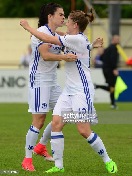 Karen Carney of Chelsea celebrates with team mate Maren Mjelde after she scores from the penalty spot to make it 10 during the WS1 match between...