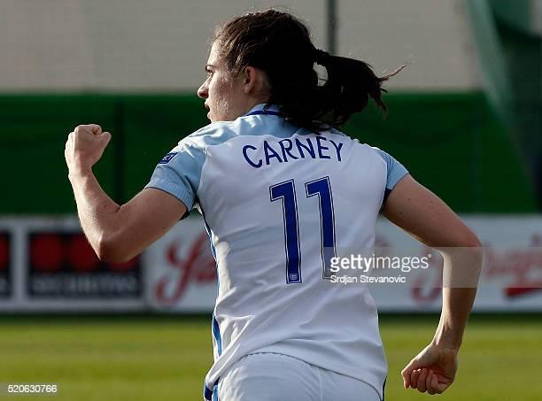 Karen Carney of England celebrates after scoring the winning goal during the UEFA Women's European Championship Qualifier match between Bosnia and...