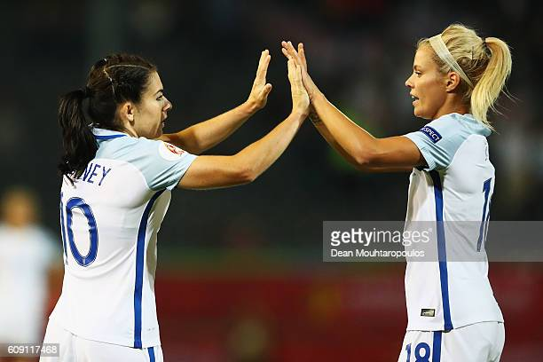 Karen Carney of England celebrates scoring her teams second goal of the game with Rachel Daly during the UEFA Women's Euro 2017 Qualifier between...