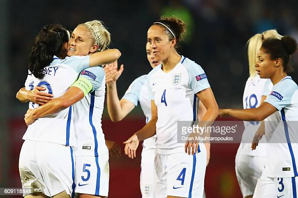 Karen Carney of England celebrates scoring her teams second goal of the game with team mates during the UEFA Women's Euro 2017 Qualifier between...