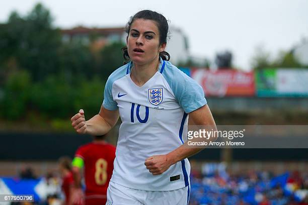 Karen Carney of England celebrates scoring their opening goal during the International Friendly match between Spain and England Women National teams...