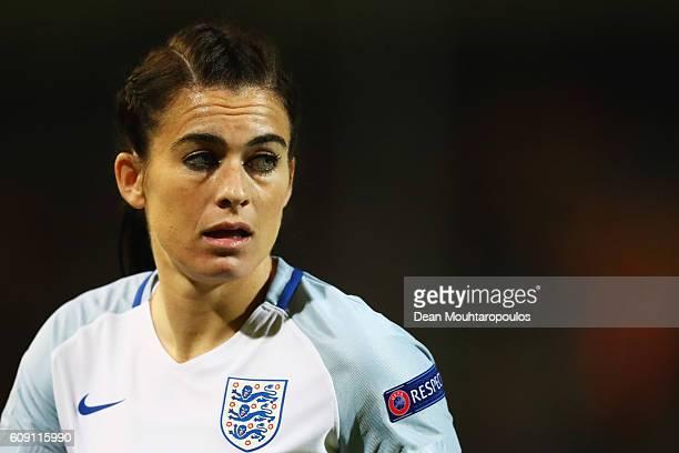 Karen Carney of England in action during the UEFA Women's Euro 2017 Qualifier between Belgium and England held at Stadium Den Dreef Oud Heverlee...