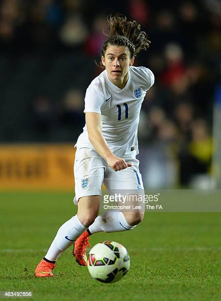 Karen Carney of England in action during the Women's Friendly International match between England and USA at Stadium mk on February 13 2015 in Milton...