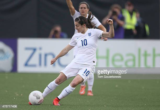 Karen Carney of England moves the ball against Canada during their Women's International Friendly match on May 29 2015 at Tim Hortons Field in...