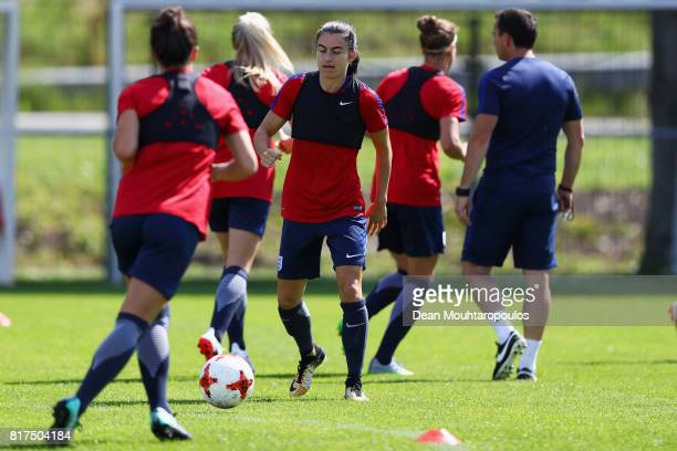 Karen Carney of the England women's national team in action during a training session on the eve of their UEFA Women's 2017 Group D match...