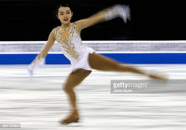 Karen Chen competes in the Championship Ladies Short Program during the 2017 US Figure Skating Championships at the Sprint Center on January 19 2017...