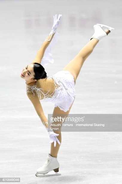 Karen Chen of the USA competes in the Ladies short program during the 1st day of the ISU World Team Trophy 2017 on April 20 2017 in Tokyo Japan
