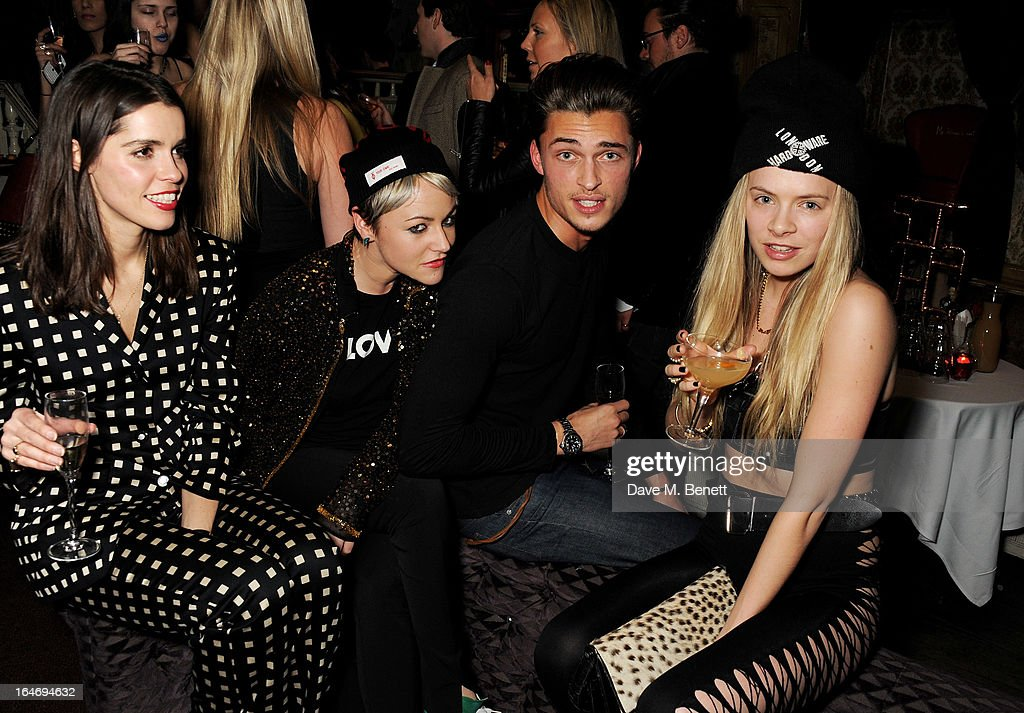 Karen Clarkson, Jaime Winstone, Harvey Newton Haydon and Jessica Horwell attend the ABSOLUT Elyx launch party at The Box Soho on March 26, 2013 in London, England.
