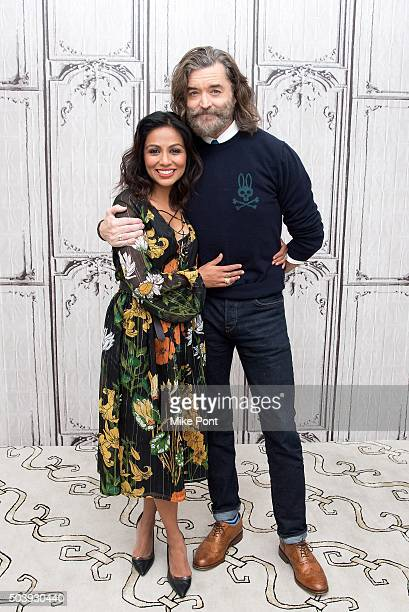 Karen David and Timothy Omundson attend the AOL BUILD Series to discuss the TV series 'Galavant' at AOL Studios In New York on January 7 2016 in New...