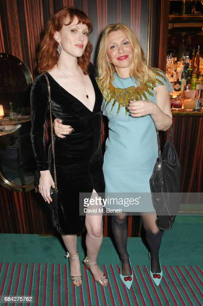 Karen Elson and Courtney Love attend a private dinner celebrating the launch of the KATE MOSS X ARA VARTANIAN collection at Isabel on May 17 2017 in...