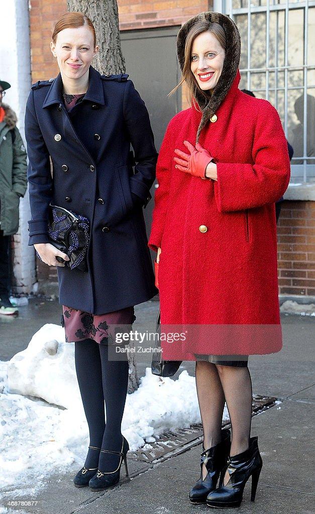 Karen Elson and Liz Goldwyn attend the Rodarte show on February 11, 2014 in New York City.