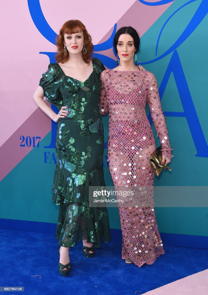 Karen Elson and Sarah Sophie Flicker attend the 2017 CFDA Fashion Awards at Hammerstein Ballroom on June 5, 2017 in New York City.
