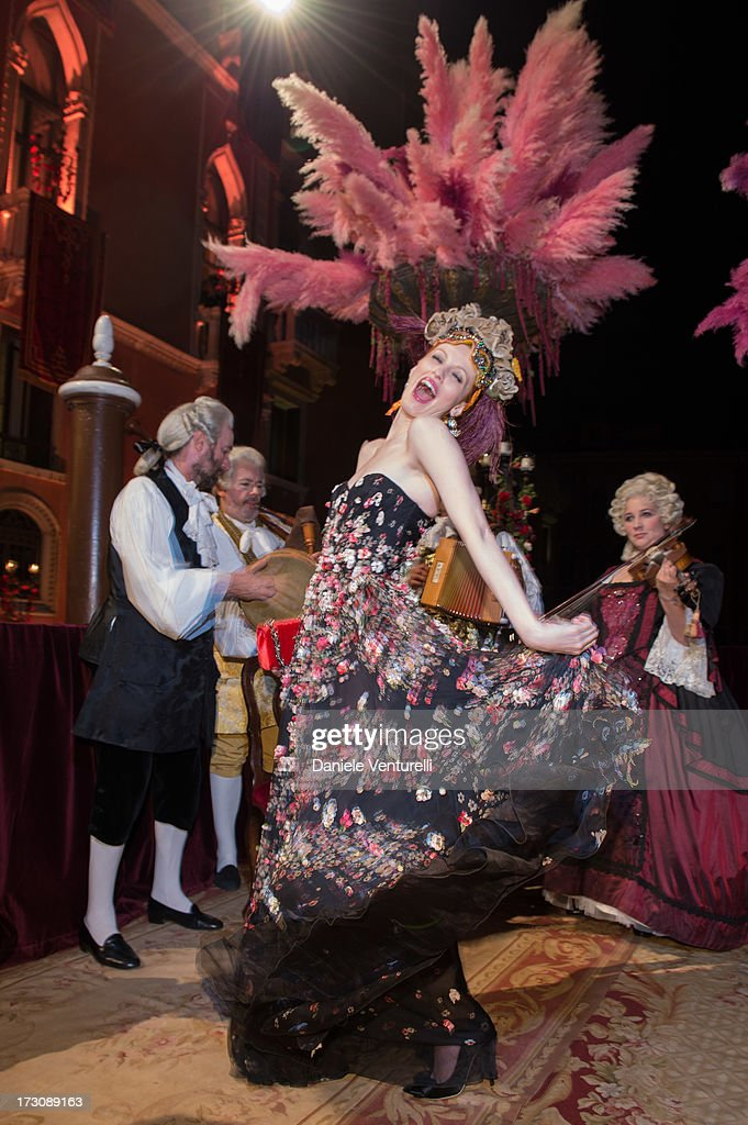 Karen Elson attends the 'Ballo in Maschera' to Celebrate Dolce&Gabbana Alta Moda at Palazzo Pisani Moretta on July 6, 2013 in Venice, Italy.