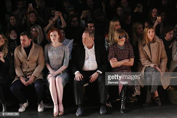 Karen Elson Harvey Weinstein Anna Wintour and Virginia Smith attend the Marchesa Fall 2016 New York Fashion Week on February 17 2016 in New York City