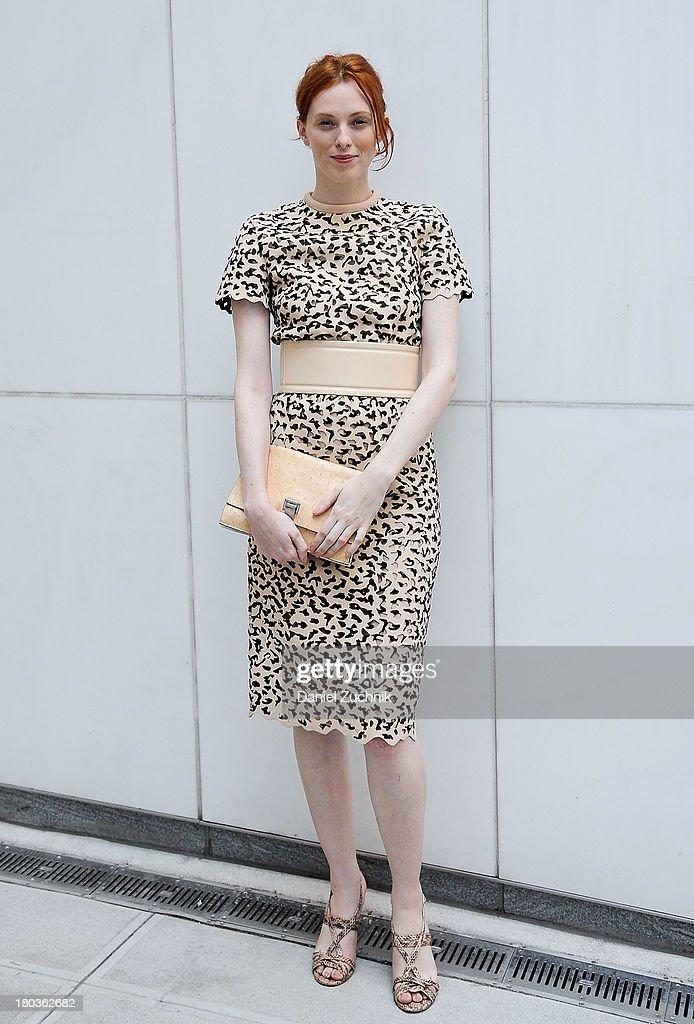 Karen Elson is seen outside the Proenza Schouler show on September 11, 2013 in New York City.