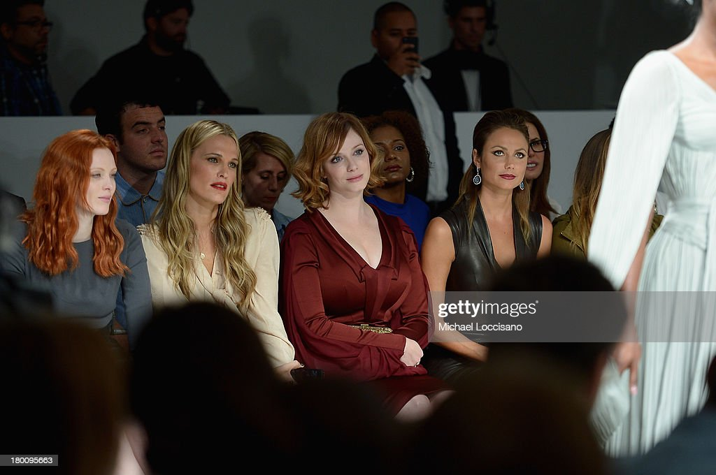 Karen Elson, Molly Sims, Christina Hendricks and Stacy Keibler sit front row at the Zac Posen fashion show during Mercedes-Benz Fashion Week Spring 2014 at Center 548 on September 8, 2013 in New York City.
