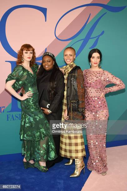 Karen Elson Pat McGrath Adwoa Aboah and Sarah Sophie Flicker attend the 2017 CFDA Fashion Awards at Hammerstein Ballroom on June 5 2017 in New York...