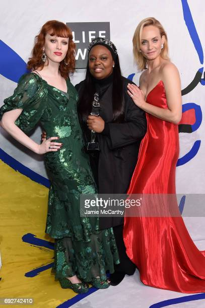 Karen Elson Pat McGrath and Amber Valletta pose on the Winners Walk during 2017 CFDA Fashion Awards at Hammerstein Ballroom on June 5 2017 in New...