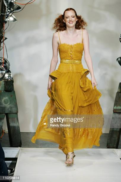 Karen Elson wearing Zaldy Spring 2005 during Olympus Fashion Week Spring 2005 Zaldy Runway at The Style Lounge in New York City New York United States
