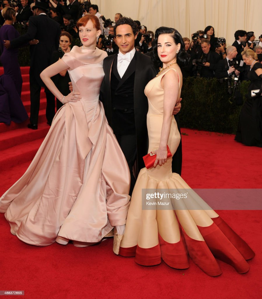 Karen Elson Zac Posen and Dita Von Teese attend the 'Charles James Beyond Fashion' Costume Institute Gala at the Metropolitan Museum of Art on May 5...