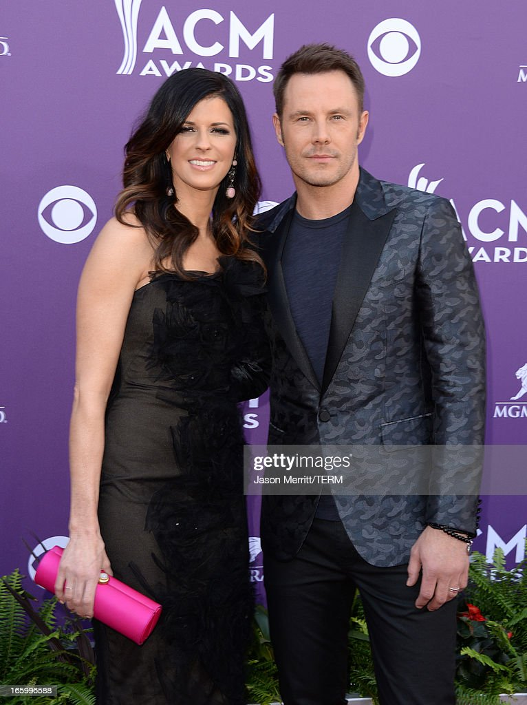 Karen Fairchild (L) and Jimi Westbrook of music group Little Big Town arrive at the 48th Annual Academy of Country Music Awards at the MGM Grand Garden Arena on April 7, 2013 in Las Vegas, Nevada.
